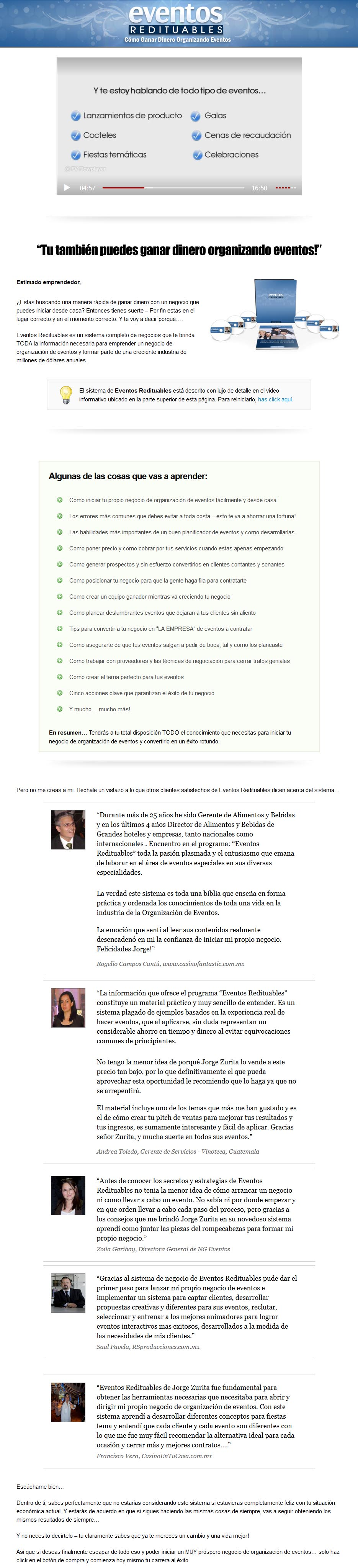 Eventos Redituables - Jorge zurita