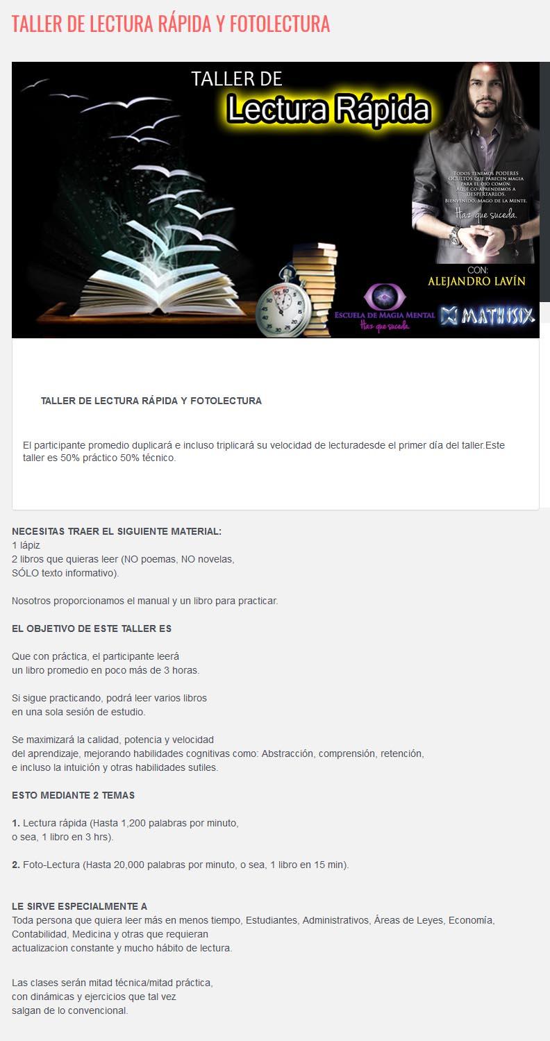 Taller de Lectura Rápida y Fotolectura - alejandro lavin
