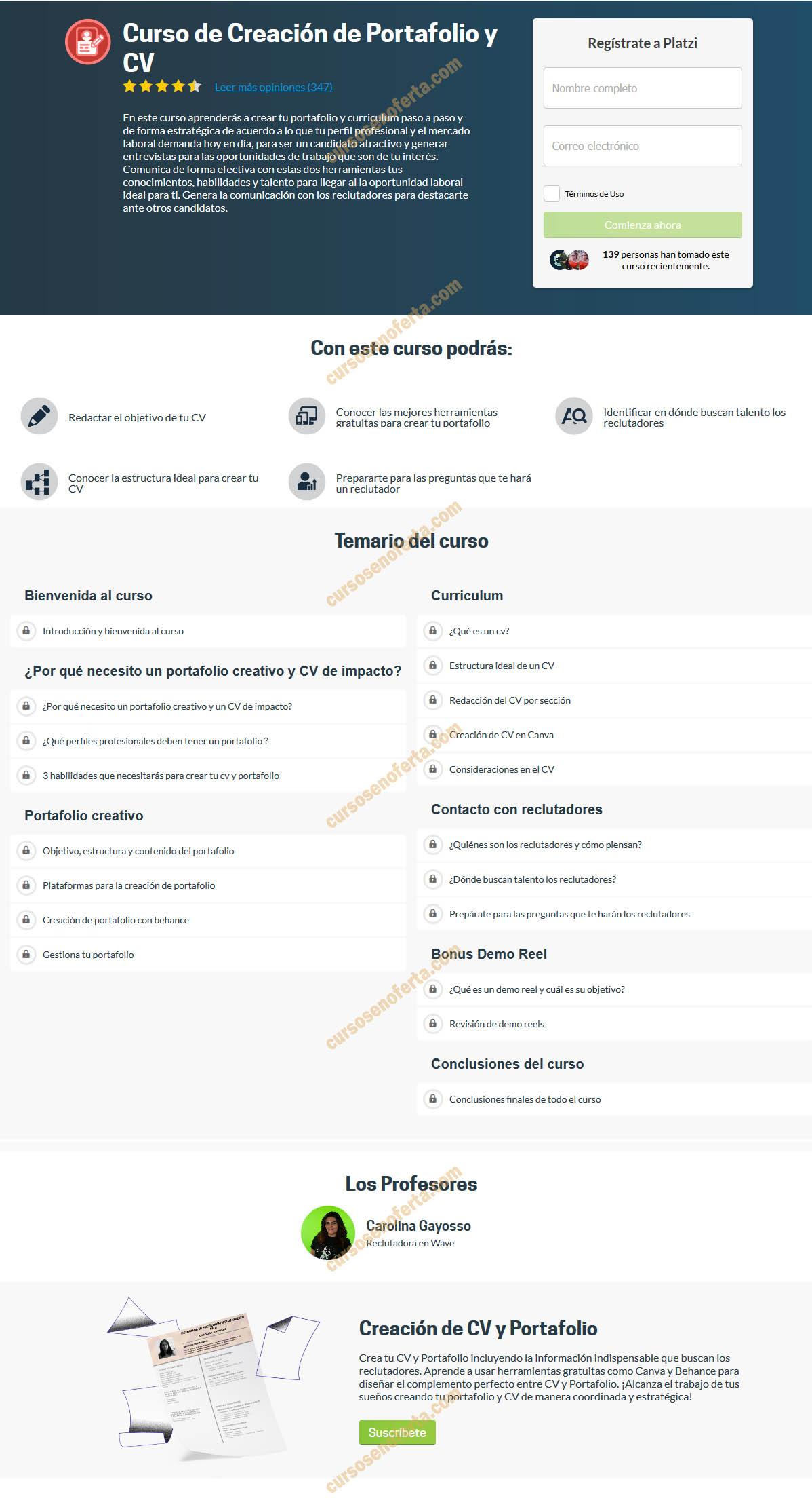 Curso de Creación de Portafolio y CV