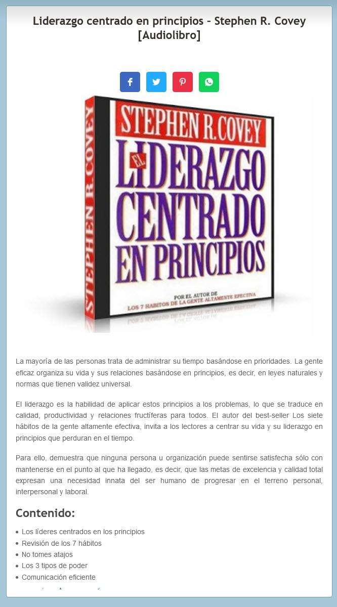 Liderazgo centrado en principios - Stephen Covey (audiolibro)