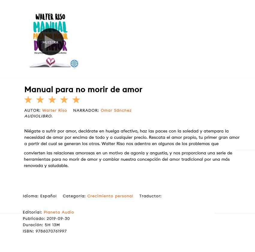 Manual para no morir de amor - Walter Riso (audiolibro)