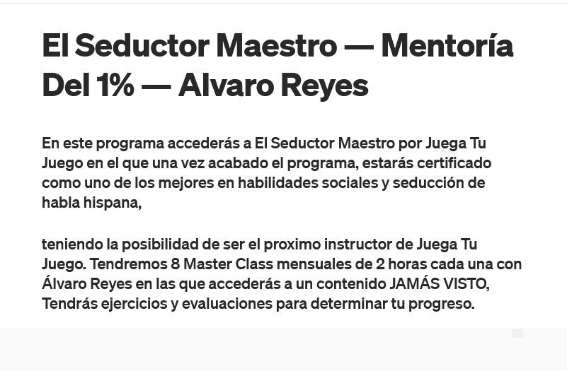 El Seductor Maestro - Mentoría del 1% - alvaro reyes