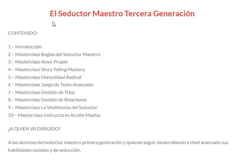 El Seductor Maestro - Tercera Generación