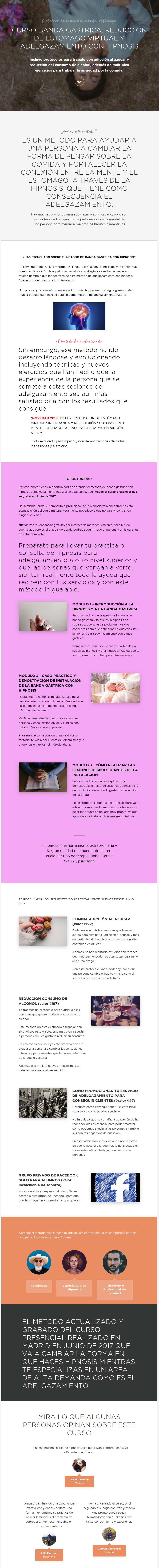 curso Banda Gástrica, Reducción de Estómago Virtual y Adelganzamiento con Hipnosis