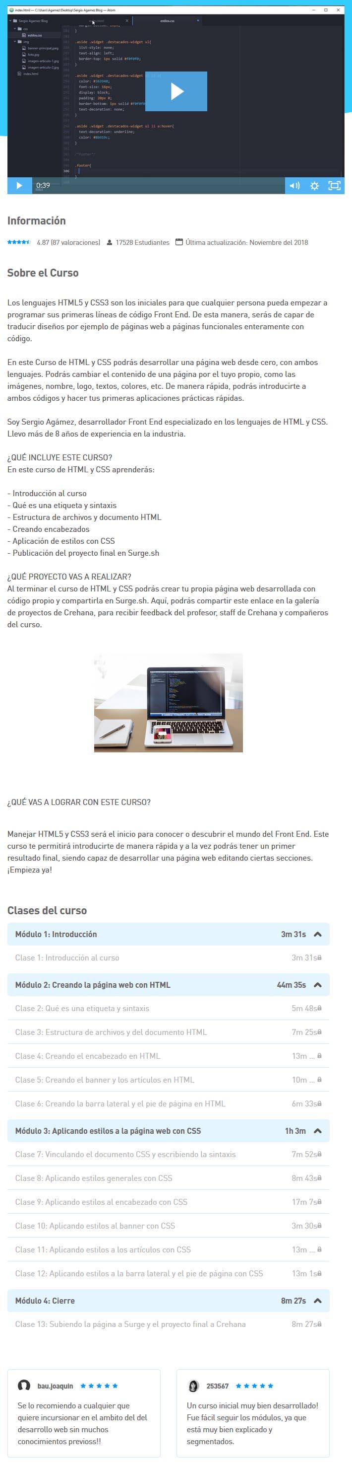 Desarrolla una página web con HTML y CSS