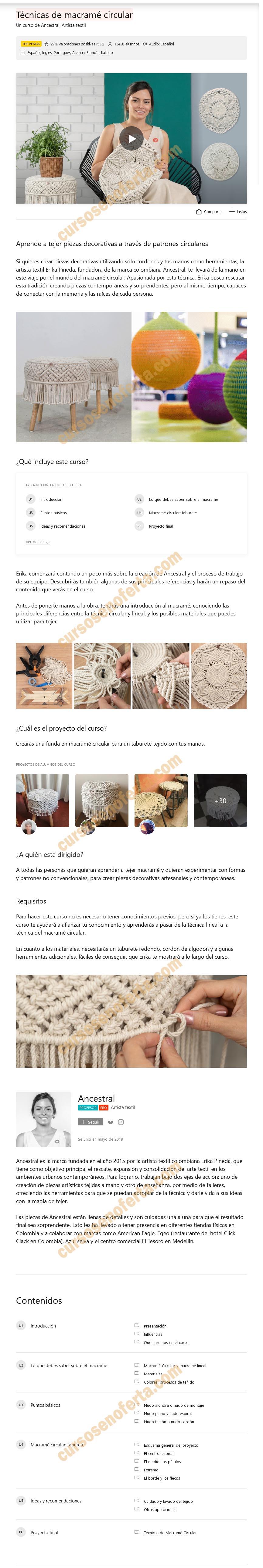 Técnicas de macramé circular