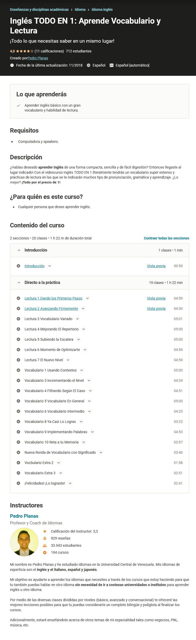 Inglés TODO EN 1. Aprende Vocabulario y Lectura